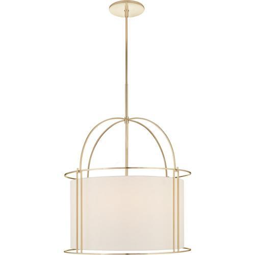 Visual Comfort BBL5055SB-S Barbara Barry Capitol 4 Light 24 inch Soft Brass Foyer Lantern Ceiling Light, Barbara Barry, Wide, Silk Shade