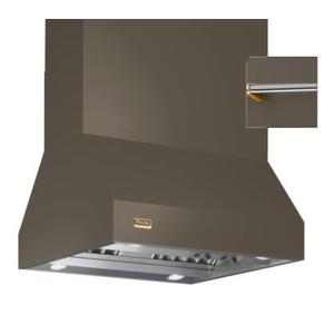 """Viking - 66"""" Wide Island Hood, Brass Accessory Rail on front and back"""