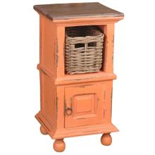 End Table with Basket - Distressed Coral and Raftwood