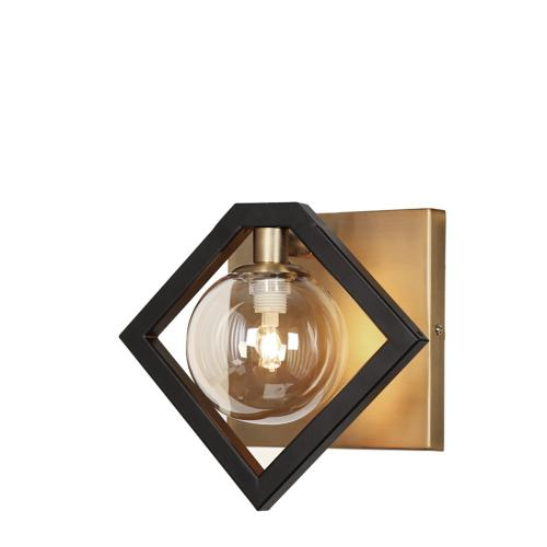 1lt Halgn Wall Sconce Mb & Vb W/ Champagne Glass