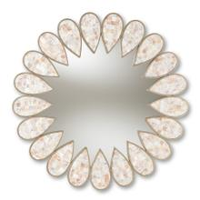 See Details - Baxton Studio Savita Modern and Contemporary Antique Silver Finished Round Shell Petal Accent Wall Mirror