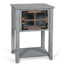 Weathered Wood  19in X 14in X 27in Antique Blue and Weathered Wood Side Table with MDF Door and Sol