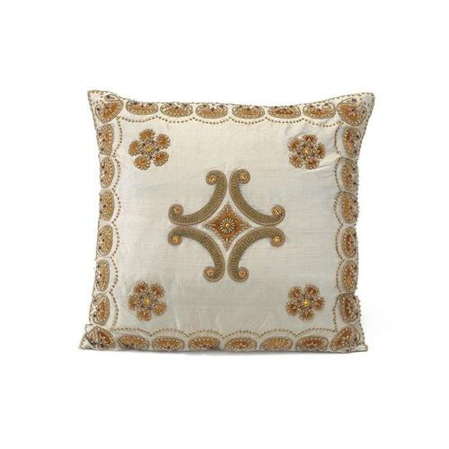Grey Silk Pillow with Center Medallion