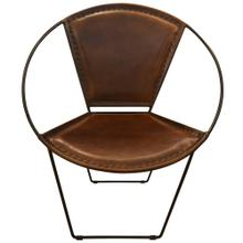 Product Image - Hoop Armchair Casual Chestnut Leather Bound & Metal Frame Accent Chair