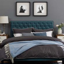 Helena Tufted Full / Queen Upholstered Linen Fabric Headboard in Azure