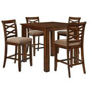 Redondo Counter Height Table and Four Chairs Set, Cherry Brown Product Image