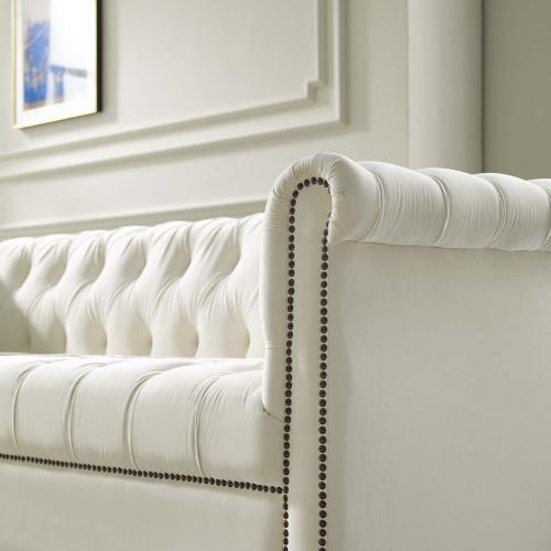 Modway - Heritage Performance Velvet Sofa in Ivory