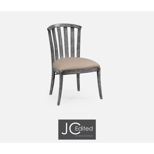 Antique dark grey style curved back chair