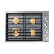"""30"""" Gas Cooktop, Silver Stainless Steel, Natural Gas"""
