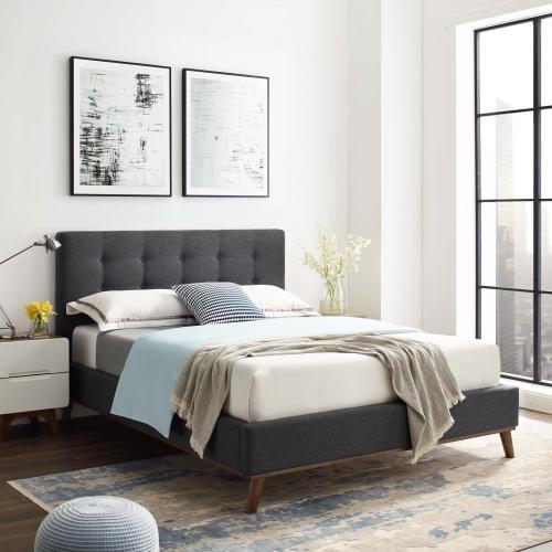 McKenzie Queen Biscuit Tufted Upholstered Fabric Platform Bed in Gray