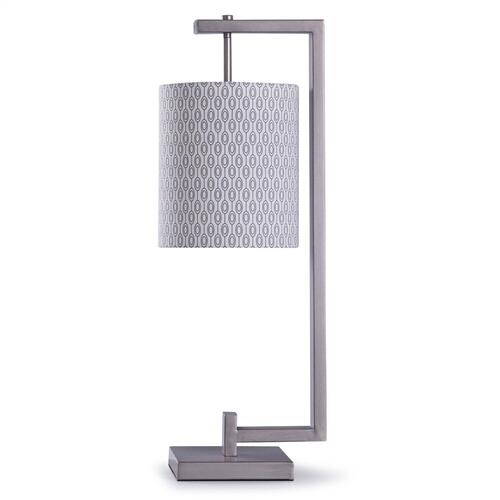 Chrome  28in Contemporary Geometric Table Lamp with Designer Pattern Shade  60W  Inline Switch