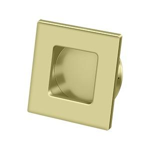 """Deltana - Flush Pull, Square, HD, 2-3/4"""" x 2-3/4"""", Solid Brass - Unlacquered Brass"""