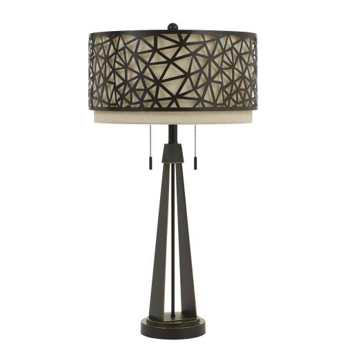 Montoro Metal Table Lamp With Dual Layer Metal/Fabric Shade And Pull Chain Switch