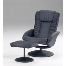 See Details - Black Vinyl Recliner and Ottoman