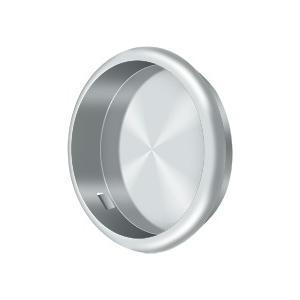 "Flush Pull, Round, 2-1/2"" Diam. - Polished Chrome"