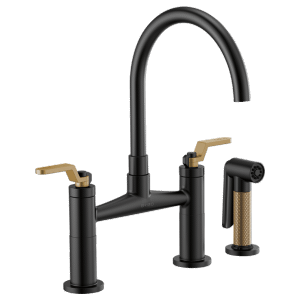 Bridge Faucet With Arc Spout and Industrial Handle Product Image