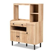 See Details - Baxton Studio Patterson Modern and Contemporary Modern Oak Brown Finished Wood 3-Door Kitchen Storage Cabinet