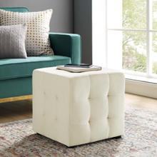 Contour Tufted Button Cube Performance Velvet Ottoman in Ivory