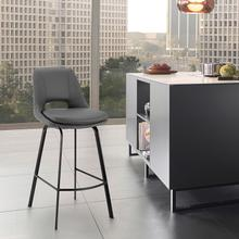 """View Product - Carise Grey Faux Leather and Black Metal Swivel 26"""" Counter Stool"""