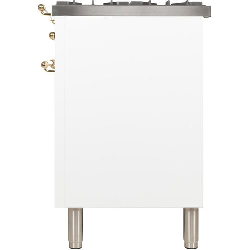 Nostalgie 40 Inch Dual Fuel Liquid Propane Freestanding Range in White with Brass Trim