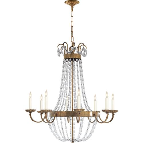Visual Comfort CHC1408AB-SG E F Chapman Paris Flea Market 8 Light 32 inch Antique-Burnished Brass Chandelier Ceiling Light