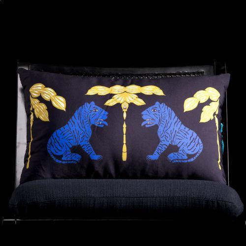 Style Craft - MUMBAI TIGER LUMBAR PILLOW  3in X 20in  The Mumbai Blue Tiger lumbar pillow inspired by Indian tig
