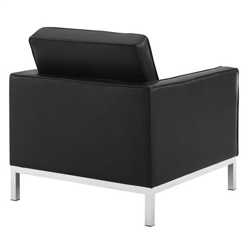 Loft Tufted Upholstered Faux Leather Armchair in Silver Black