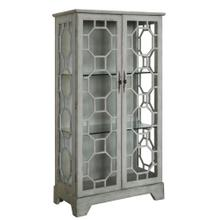 Evelyn 2 Door Painted River Mist Glass Curio with Fretwork