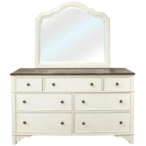 Riverside - Grand Haven - Landscape Mirror - Feathered White Finish