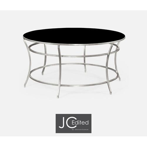 Silver round iron coffee table