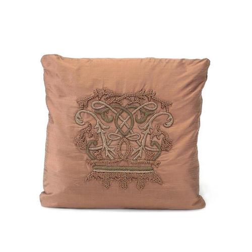 Rose Pillow with a Crest Design