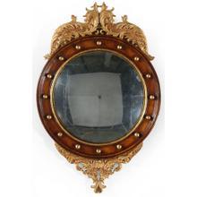 Regency walnut & gilt round convex eglomis e mirror (Small)