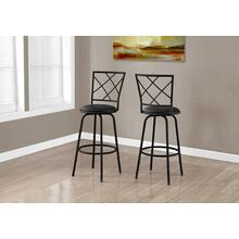 BARSTOOL - 2PCS / SWIVEL / BLACK /BLACK LEATHER-LOOK SEAT