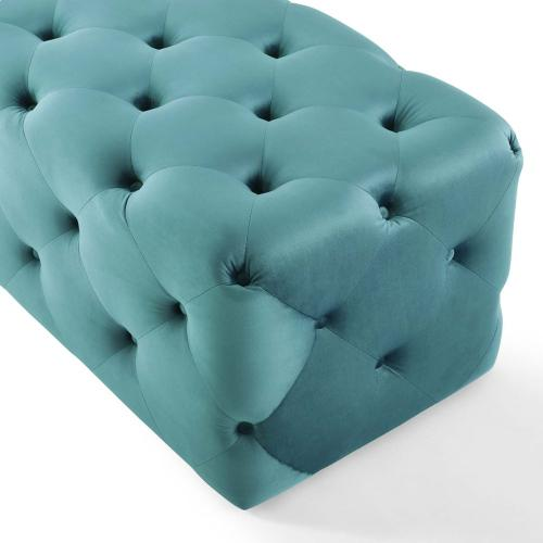 """Amour 60"""" Tufted Button Entryway Performance Velvet Bench in Sea Blue"""