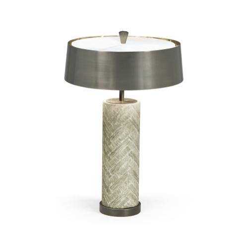 Circular Grey Oak & Brass Table Lamp