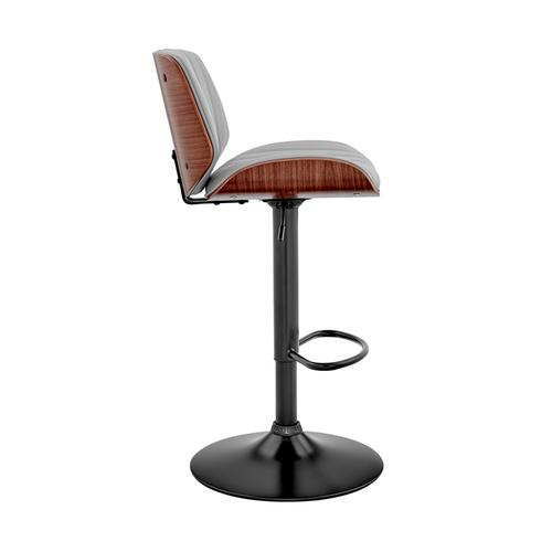 Armen Living - Brock Adjustable Grey Faux Leather and Walnut Wood with Black Finish Bar Stool