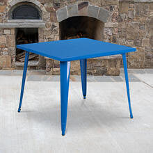 "Commercial Grade 35.5"" Square Blue Metal Indoor-Outdoor Table"