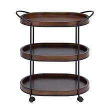 "MTL WD 3 TIER BAR CART 26""W, 30""H"