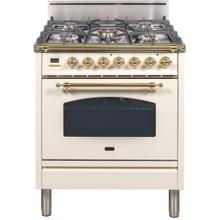 Nostalgie 30 Inch Gas Liquid Propane Freestanding Range in Antique White with Brass Trim