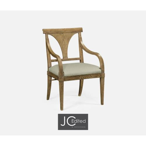 Cut-Out English Brown Oak Dining Armchair, Upholstered in MAZO