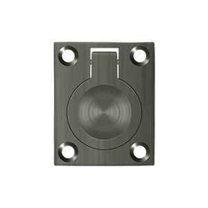 """Deltana - Flush Ring Pull, 1-3/4"""" x 1-3/8"""" - Antique Nickel"""