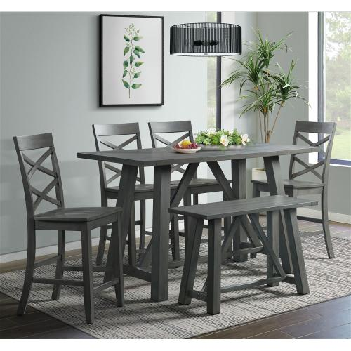 Product Image - Renegade 6PC Counter Height Dining Set in Gray-Table, 4 Side Chairs & Bench
