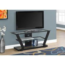 "TV STAND - 48""L / BLACK METAL WITH TEMPERED GLASS"
