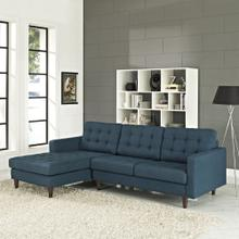 See Details - Empress Left-Facing Upholstered Fabric Sectional Sofa in Azure