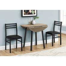 DINING SET - 3PCS SET / DARK TAUPE TOP / BLACK METAL