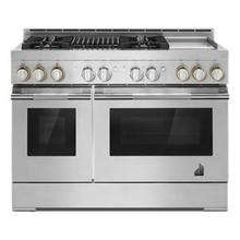 """See Details - RISE 48"""" Gas Professional-Style Range with Chrome-Infused Griddle and Grill"""