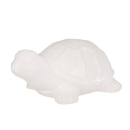 """Ceramic 18"""" Turtle, White"""
