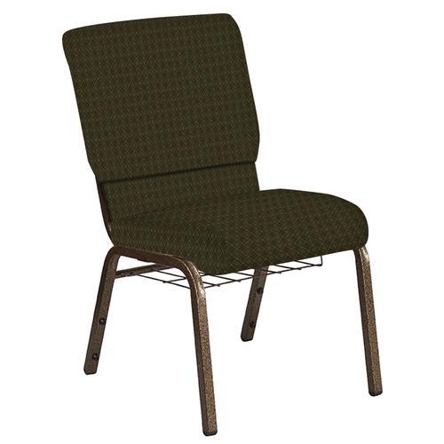 Flash Furniture - 18.5''W Church Chair in Jewel Lichen Fabric with Book Rack - Gold Vein Frame