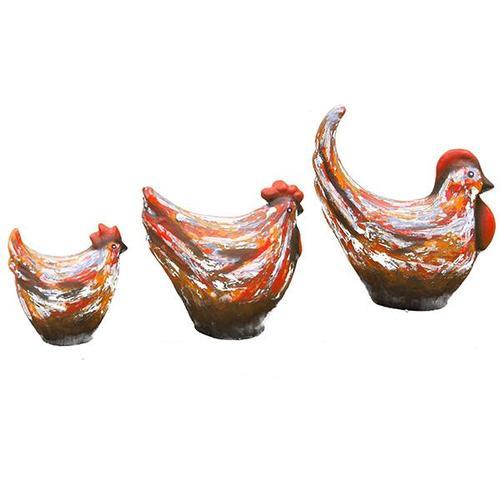 3 PC Multi-Colored Ceramic Chickens