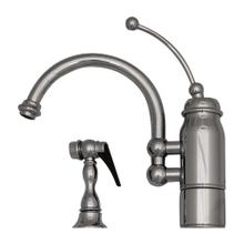 View Product - New Horizon Single Handle Kitchen Faucet with Curved Extended Stick Handle, Curved Swivel Spout and Side Spray - Polished Chrome